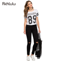 RichLuLu Fashion Letter Print T Shirt Women Short Sleeve O Neck Crop Tops Women T Shirt