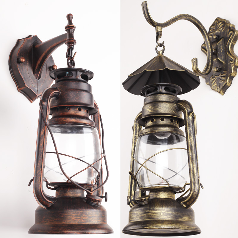 Wall Lantern Indoor : Balcony Indoor outdoor waterproof wall lamp stair outdoor led antique lantern vintage kerosene ...