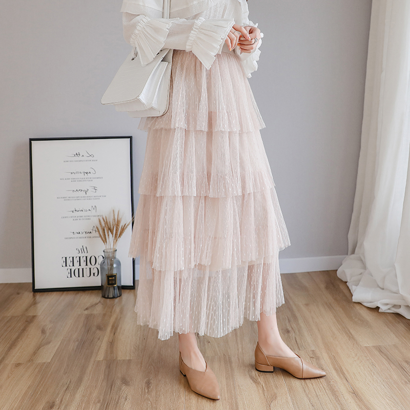 Image 2 - Fitaylor Spring New Sweet Cake Layered Long Mesh Skirts Princess High Waist Ruffled Vintage Tiered Tulle Pleated ins Skirts-in Skirts from Women's Clothing