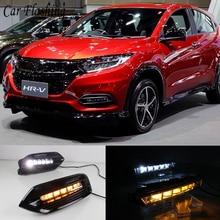 2PCS LED Tagfahrlicht Für Honda HRV HR V Vezel 2018 2019 2020 Gelb Blinker Auto DRL Nebel lampe Dekoration