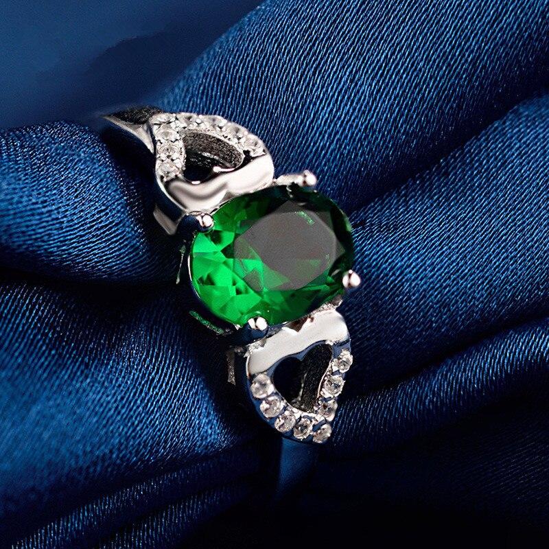 100% Sterling Silber Ring Aaa Grün Zirkon Ring Charme Schmuck Frau Hochzeit Ring