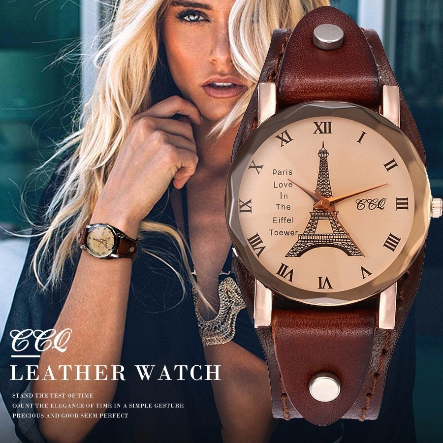 2017 CCQ Brand Vintage Cow Leather Eiffel Tower Watch Casual Women Men Leather Quartz Wristwatches Clock Montre Femme Hot Sale burei brand men women dress quartz watch new hand couples table clock real leather fashion casual wristwatches hot sale gift