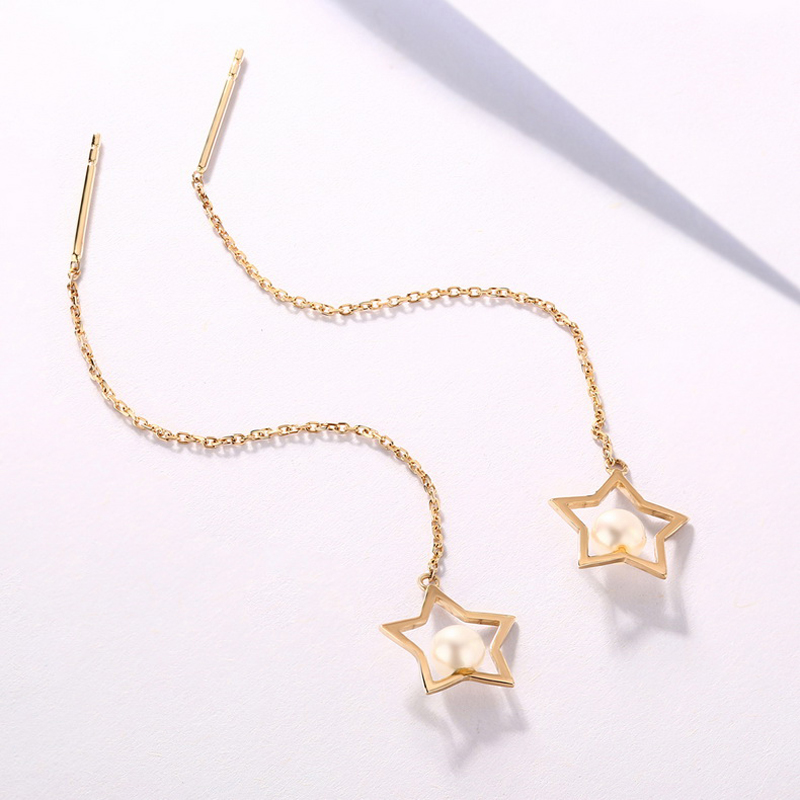 JXXGS Jewelry Natural Fresh Water Pearl Earrings 14K Gold Stars Shape Earrings Line For Women