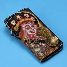 Man Genuine Leather Wallets Carving Skull Bag Purses Men Long Clutch Vegetable Tanned Leather Card Holder