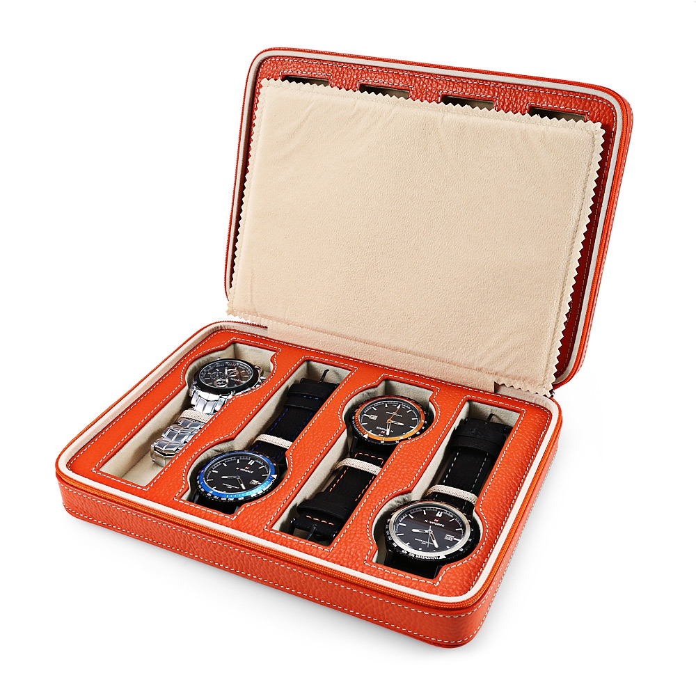 2017 New Fashion 8 Slots Zippered Genuine Leather Travel Watch Box High Quality Storage Case Organizer Great Gift For Friends travel aluminum blue dji mavic pro storage bag case box suitcase for drone battery remote controller accessories