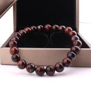 Image 2 - Minimalist 8MM Natural Stone Prayer Beads Tiger Eye Bracelet Handmade Red Brown Natural Stone Braclet For Men Yoga Jewelry Homme