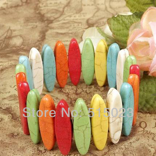 mixed color Colorful horse eye Shaped Stone Beads Bracelet Fashion Jewelry Craft haprose gifts TB14