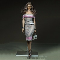 1 6 Scale Woman Grey Lace Dress Models For 12 Big Bust Body