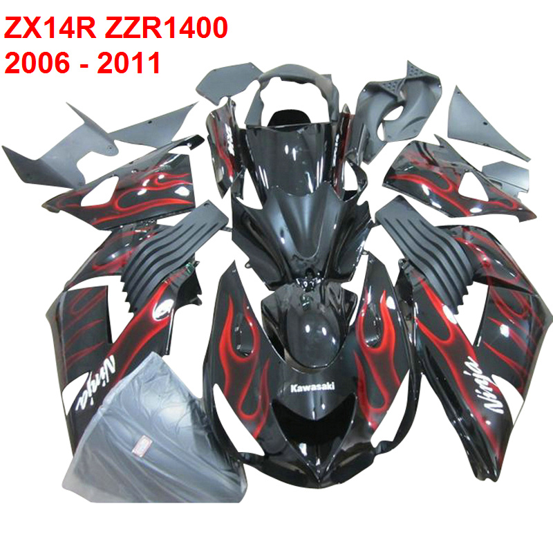 Fairing's custom  For Kawasaki ZX14R ZZR1400 Ninja 2006 2007 2008 2009  Injection mold red flame & black Fairings xl29