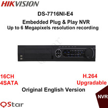 Hikvision Original English Version DS-7716NI-E4 Embedded Plug & Play NVR with 16CH 4SATA 6MP H.264 Upgradable DHL Free Shipping