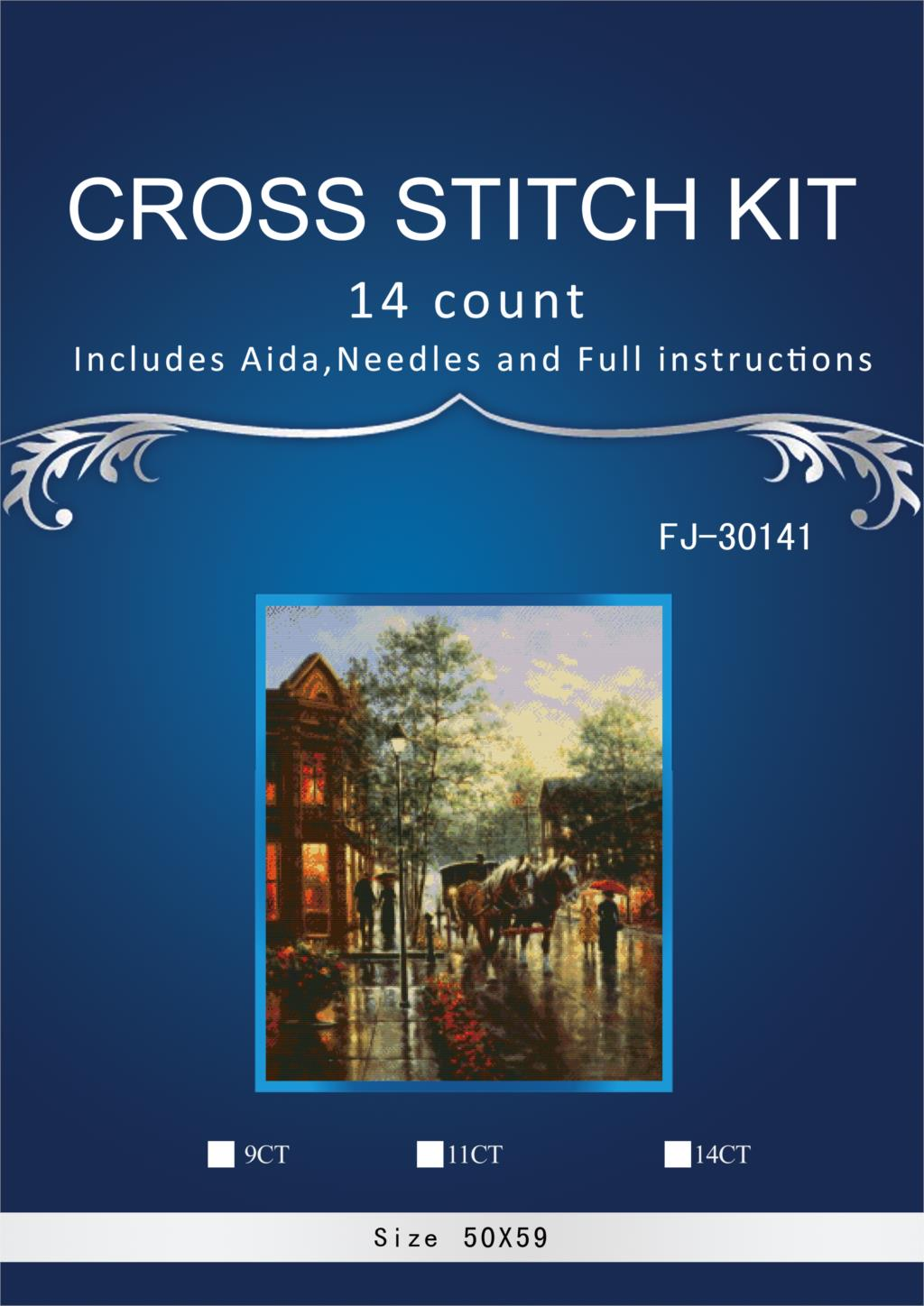 oneroom 14CT Top Quality Counted Lovely Cute Cross Stitch Kit Sunset Rain Raining Street Evening Horse Carriage 1th