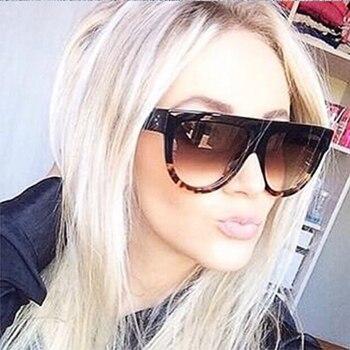 8d085351c7 Kim Kardashian gafas de sol dama plana gafas cuadrado Lunette de las mujeres  de la marca