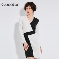 Clocolor Office Dresses Woman 2017 V Neck Bodycon Long Sleeve Geometric Autumn White Black Empire Zipper