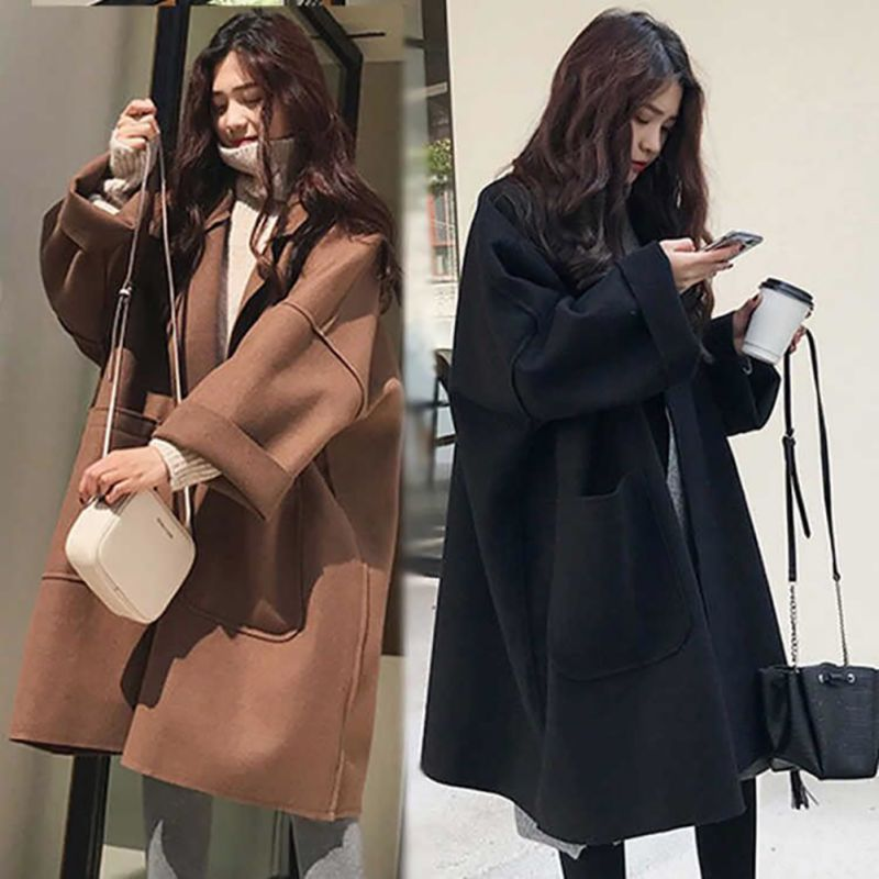 Women Autumn Winter Elegant Coat Mid-length Lapel Solid Color Loose Woolen Casual Long-sleeved   Trench