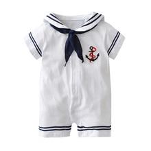 19b0527fff701 2018 verano estilo recién nacido Niño de manga corta blanco marino marinero uniformes  bebé Romper bebé niño niña ropa infantil t.