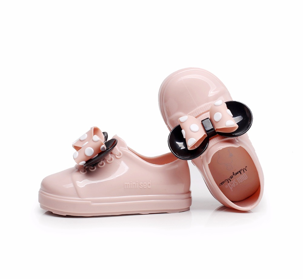 Mini Melissa Girl Sandals New Mickey Bowknot Casual Girl Single Shoes Candy Fruit Jelly Shoes Waterproof Jacket Sandals Shoes