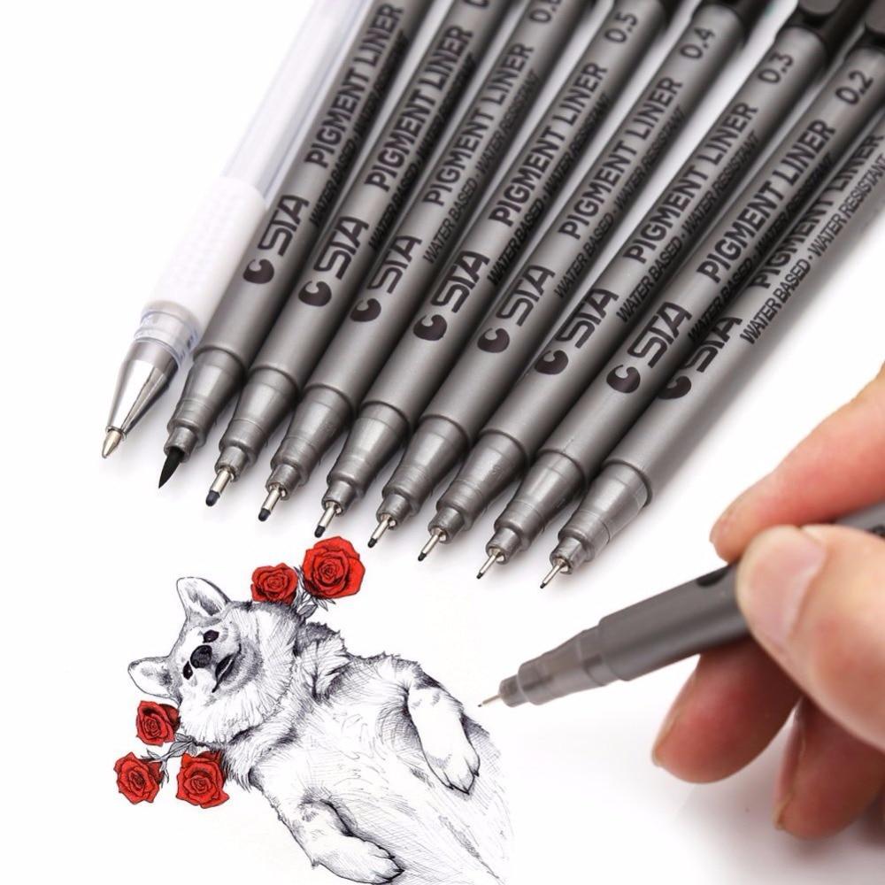 9 teile/los Verschiedenen Größen Schwarz Pigment Liner Auf Wasserbasis Art marker stift für Zeichnung Handschrift Kunst Lieferungen Schreibwaren