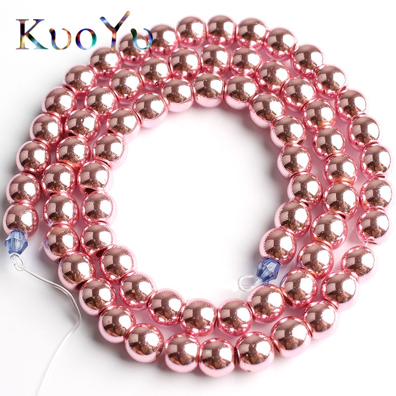 Natural Stone Pink Hematite Beads Round Loose Spacer Beads 2/3/4/6/8/10mm For Diy Necklace Bracelet Jewelry Making Accessories Professional Design Beads & Jewelry Making