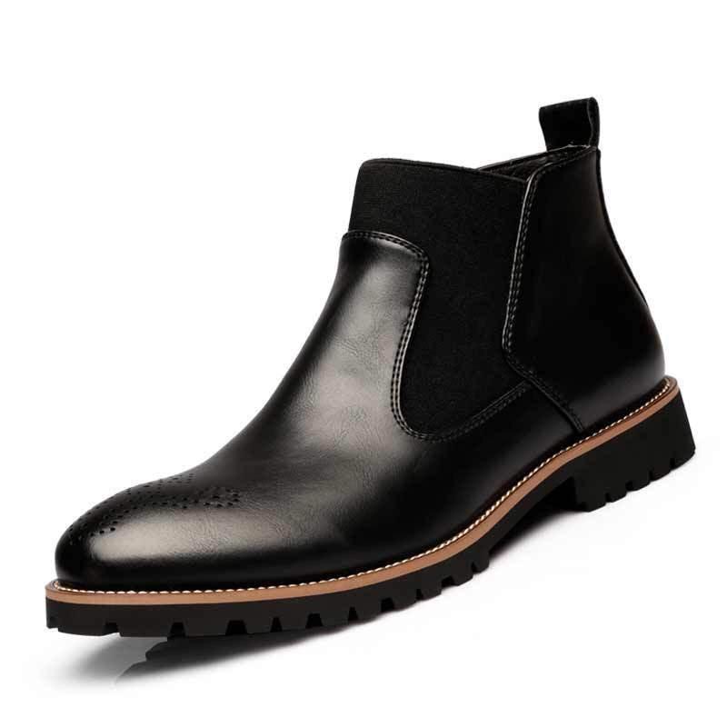 Lente/Winter Bont mannen Chelsea Laarzen, Stijl Mode Laarzen, zwart/Bruin/Rood Brogues Zacht Leer Toevallige Schoenen maat 38 46 eur op  Groep 3