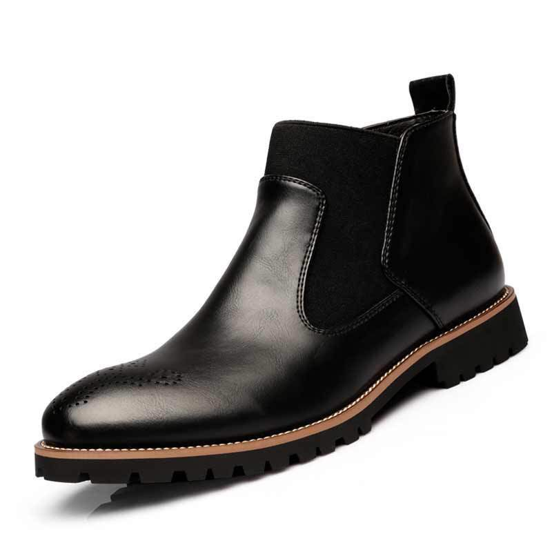 Spring/Winter Fur Men's Chelsea Boots, Style Fashion Boots,Black/Brown/Red Brogues Soft Leather Casual Shoes size 38 46 eur    3