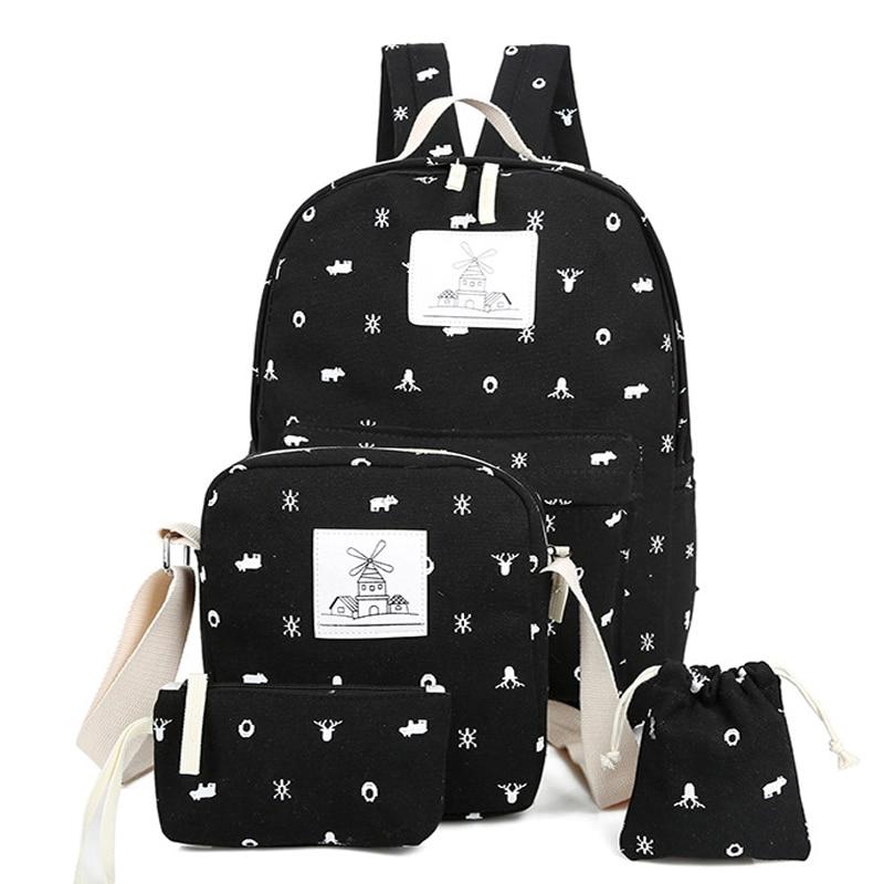 Women Canvas Backpack Student School Bag Cute Printing For Teenage Girls Bookbag Woman Travel Set JXY561