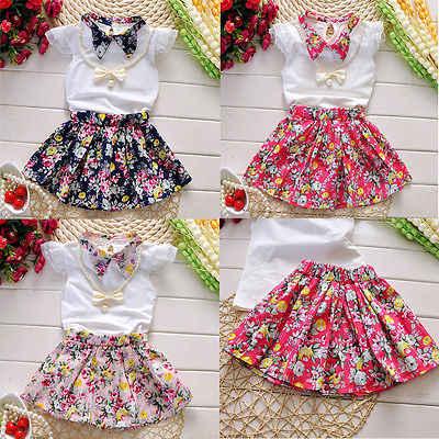 diseño atemporal b7416 2935d Conjunto de ropa de verano de princesa para niñas y bebés, ropa de 2019  bebés, blusa blanca con cuello redondo, Tops, faldas florales, conjunto de  ...