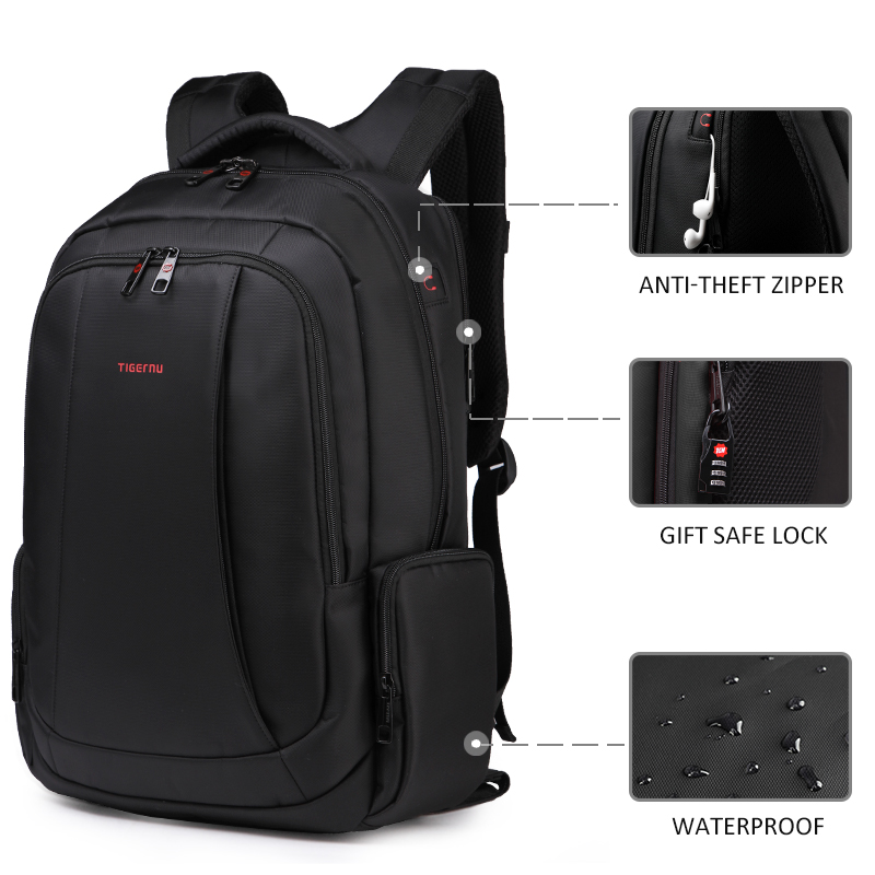Image 4 - Tigernu Anti Theft Nylon 27L Men 15.6 inch Laptop Backpacks School Fashion Travel Male Mochilas Feminina Casual Women Schoolbag-in Backpacks from Luggage & Bags