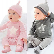 NEW ARRIVAL GREY COTTON Newborn Baby Infant Romper Bodysuit 3-pc Star Tops Pant Hat Outfits Clothing set