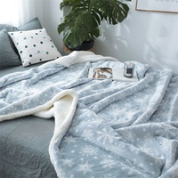 snow flower coral fleece minky flanel blue cozy soft baby blanket winter child toddler bedding quilt sofa throw blanket for sofa