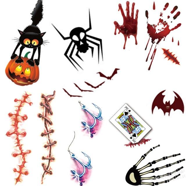 Tatuaje de Halloween calabaza fantasma sangriento patrón para niños Cool falso Shantou tatuaje impermeable temporal tatuaje pegatinas