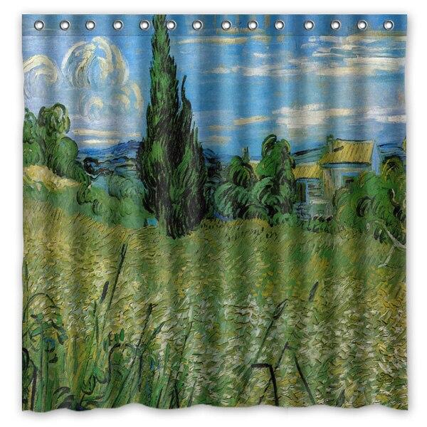 180x180 Cm Waterdicht Bad Douchegordijn Met Haken Van Gogh Schilderij Badkamer Gordijnen Rideau De Douche Cortina De La Ducha