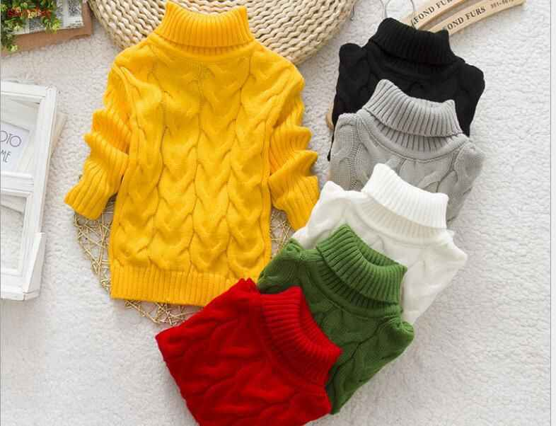 Baby Boys girls Sweaters Children Autumn Winter cotton knitting tops Turtleneck kid pullover worm Sweaters 3-10 years