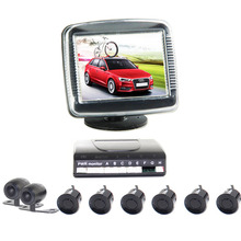 купить Car Front Rear Kit Reverse Front View Camera + 3.5 Monitor + 6 Parking Sensor before and after дешево