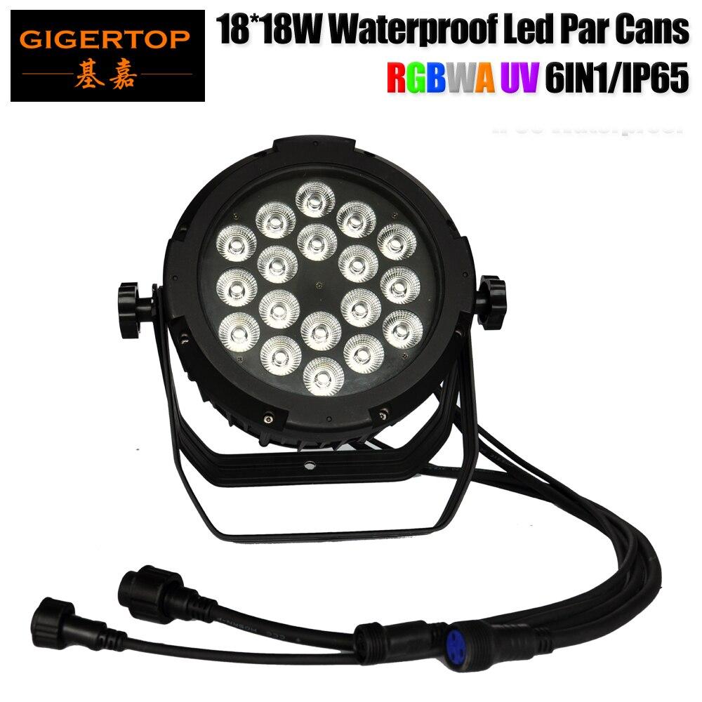 Gigertop TP-P109 New Compacted 18x18W RGBWA UV 6IN1 Waterproof Led Par Light LCD Display 6/10 DMX Channels Black Aluminum Case цена