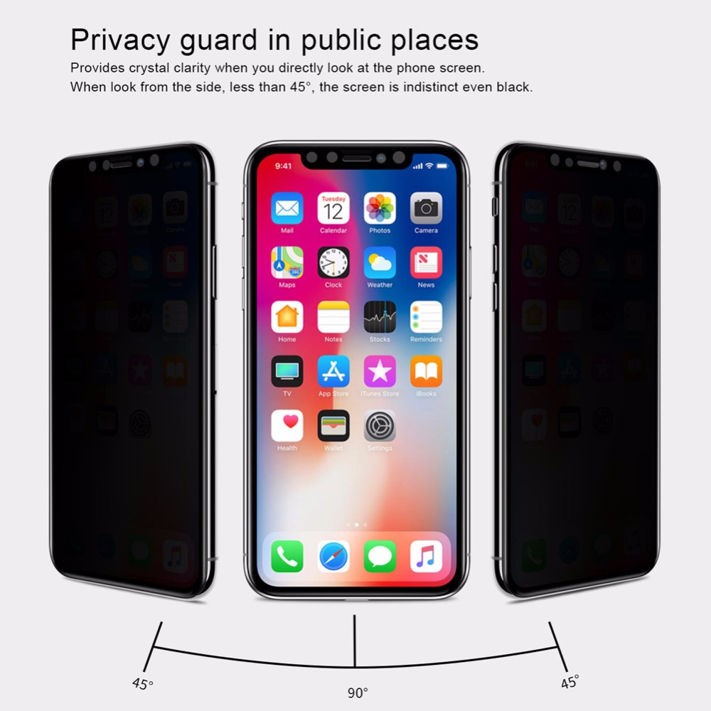 Nillkin Anti Spy Kaca Tempered untuk iPhone 11 Pro Max X XR XS MAX - Aksesori dan suku cadang ponsel - Foto 4