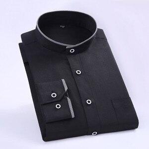 Image 2 - Camisas de vestir cómodas y suaves para hombre, camisas de manga larga entalladas con cuello levantado, camisas de esmoquin para fiesta y boda