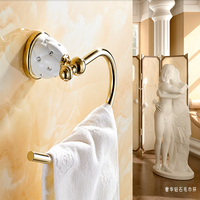 Wholesale And Retail Free Shipping Towel Ring Golden Brass Towel Rack Holder Wall Mounted Towel Ring