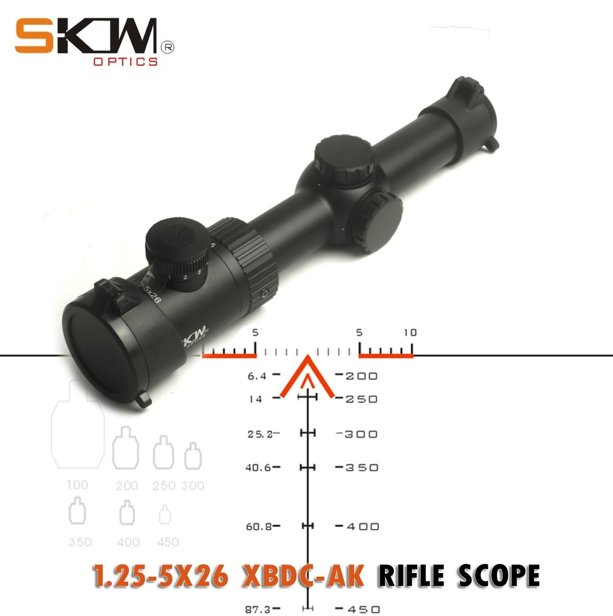 SKWoptics 1.25-5x26A Tactical riflescopes Caça para AR AK, M4 Kalashnikov vista compact rifle scope retículo BDC
