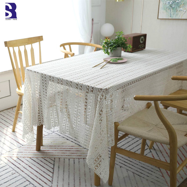 Crochet Christmas Chair Covers Wedding Cover Hire Scarborough Sunnyrain 1 Piece Cotton White Tablecloth Table Cloth Rectangle Coffee Tablecloths