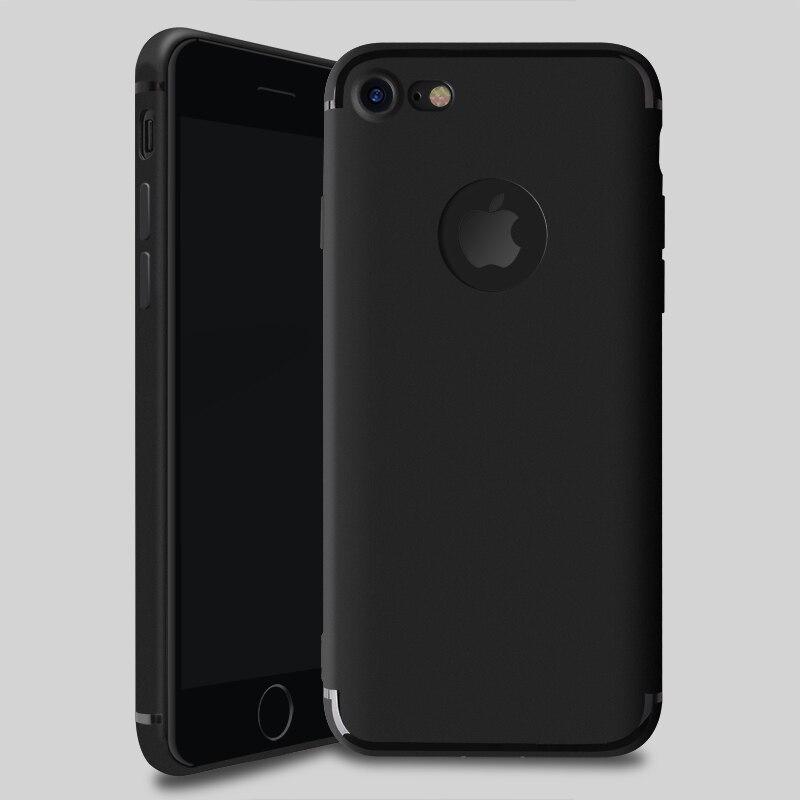 Для iPhone 7 7 s плюс Чехол тонкий силиконовый тонкий ТПУ Мягкая для iPhone 7 6 6S Plus матовая задняя черный Защита от пыли 50 шт./лот оптовая продажа