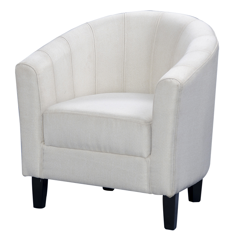 Shellhard Casual Linen <font><b>Fabric</b></font> Tub Chair Armchair for Dining Living Room Home Office Lounge Seat Cream