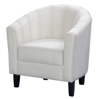Shellhard Casual Linen Fabric Tub Chair Armchair For Dining Living Room Home Office Lounge Seat Cream