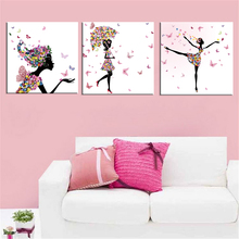 Frameless Dancing Girl Oil Painting Butterfly Wall Poster Canvas Art HD Modular Picture Home Decor 3 Pieces  PH3-QX8 frameless dancing girl oil painting butterfly wall poster canvas art hd modular picture home decor 3 pieces