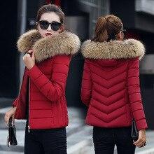 Зимнее пальто Женская парка с капюшоном тонкий меховой воротник хлопковая стеганая куртка пальто женские теплые короткие парки верхняя одежда плюс размер 4XL DR01