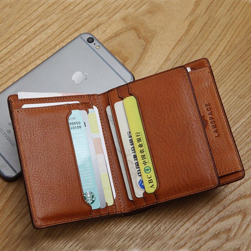 Bagaj ve Çantalar'ten Cüzdanlar'de LANSPACE hakiki deri Japonya erkek cüzdan İtalya deri çanta kısa bozuk para çantaları tutucular'da  Grup 3