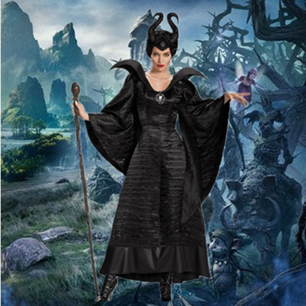 Adult Maleficent Christening Black Gown Halloween Witch Cosplay Fancy Dress Costume Carnival Party Clothing Outfit