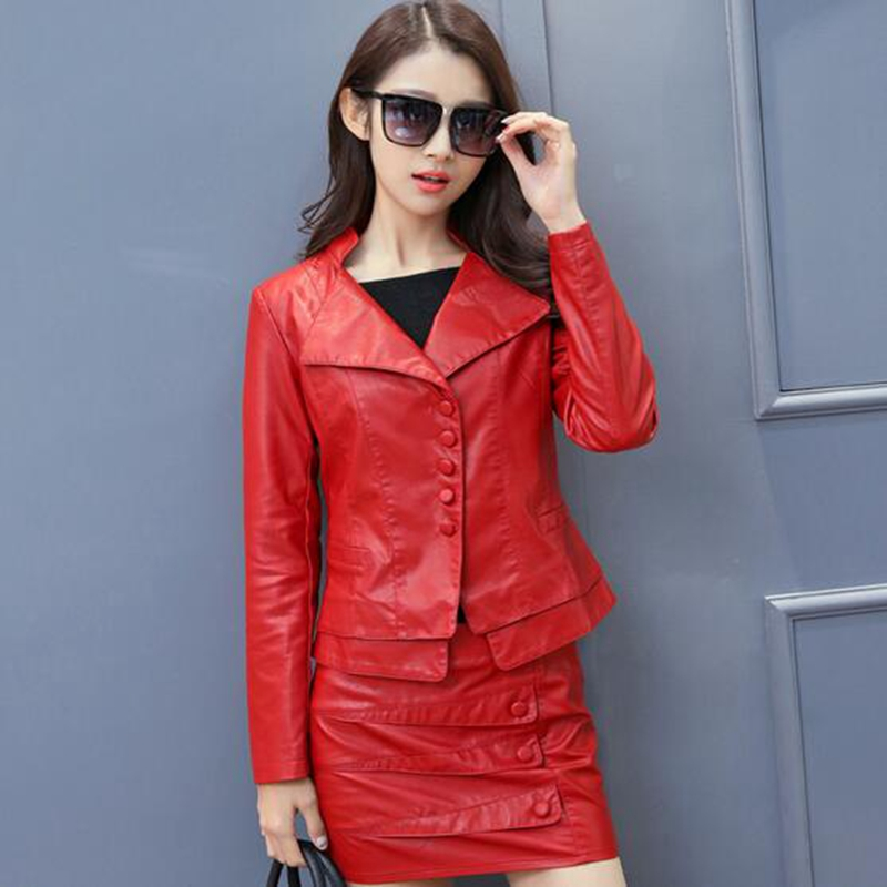 Popular Women Leather Skirt and Jacket-Buy Cheap Women Leather ...
