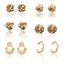 2019 Vintage Gold Color Stud Earrings for Women New Fashion earrings Irregular Statement