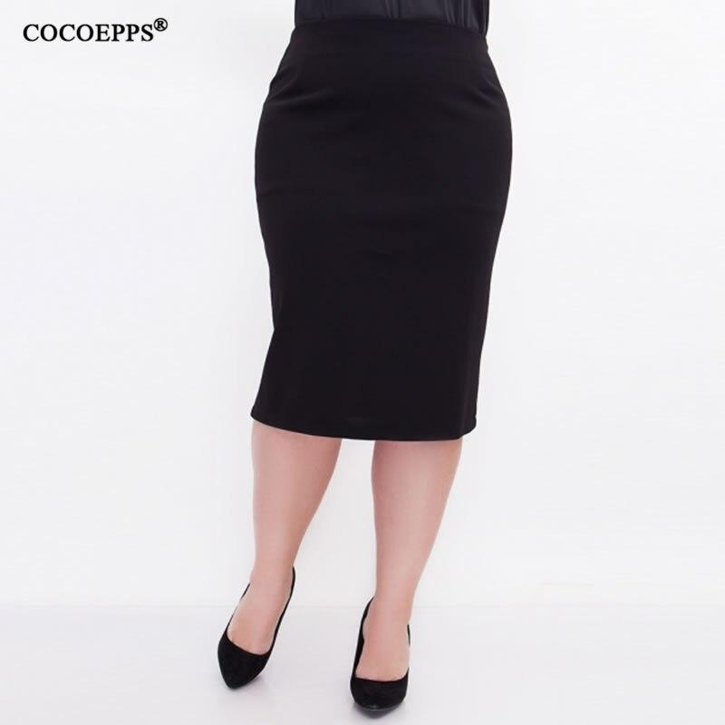 5XL 6XL 2018 Women Sexy Fashion Summer Skirt OL High Waist Plus Size New Bodycon Pencil Skirt Slim Elegant Casual Skirts Black