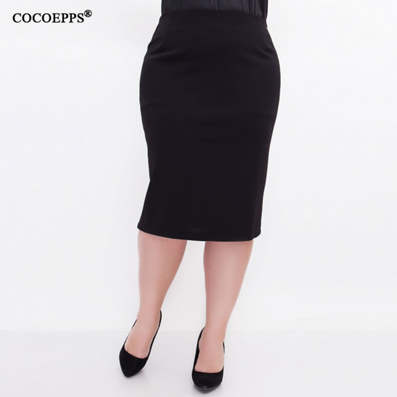 5XL 6XL 2019 Women Sexy Fashion Summer Skirt OL High Waist Plus Size Bodycon Pencil Skirt Slim Elegant Casual Skirts Black Saias